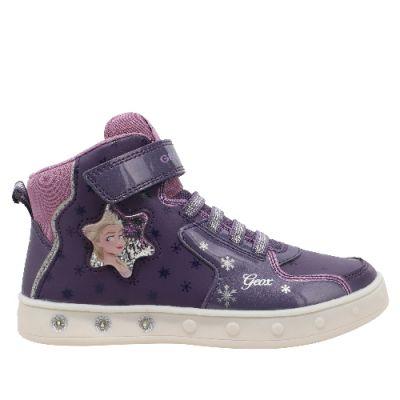Παιδικά Μποτάκια Geox Κορίτσι Φωτάκια Skylin Frozen II J048WB 00402 C8KQ8 DK Violet/Mauve