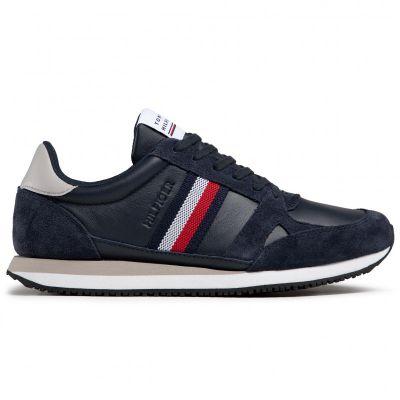 Αντρικά Sneakers Tommy Hilfiger Runner Lo Leather Stripes FM0FM03430 DW5 Μπλε
