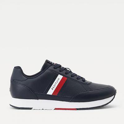 Ανδρικά Sneakers Tommy Hilfiger Essential Runner Stripes Leather Μπλε FM0FM03744 DW5
